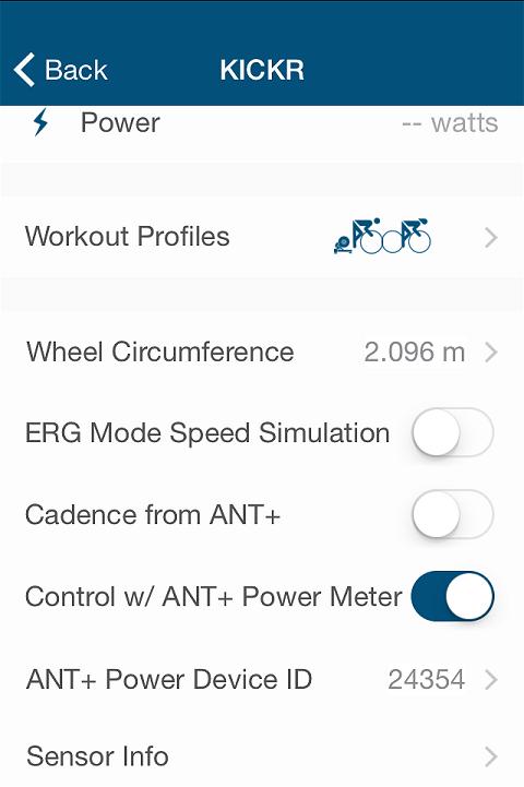 Screenshot of Wahoo Fitness mobile app