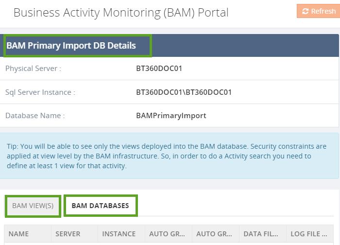 biztalk bam databases