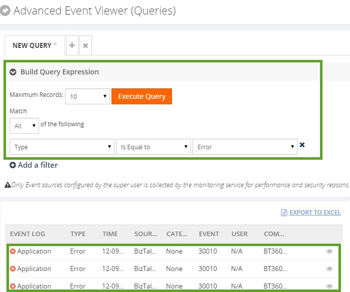 advanced event viewer queries in biztalk360