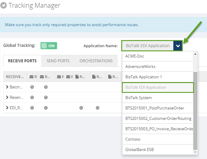tracking in application using biztalk360