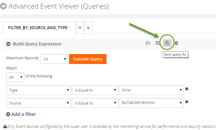 save as event query in biztalk360