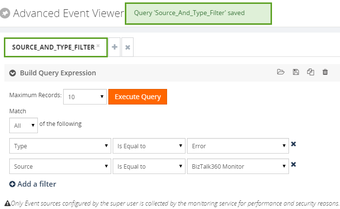 saving an event viewer query in biztalk360