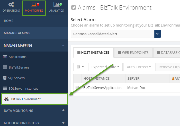biztalk360 host instances alarms window