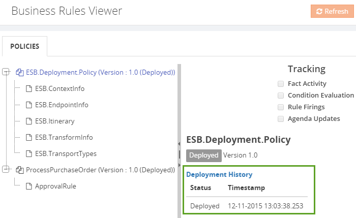 business rules viewer deployment history