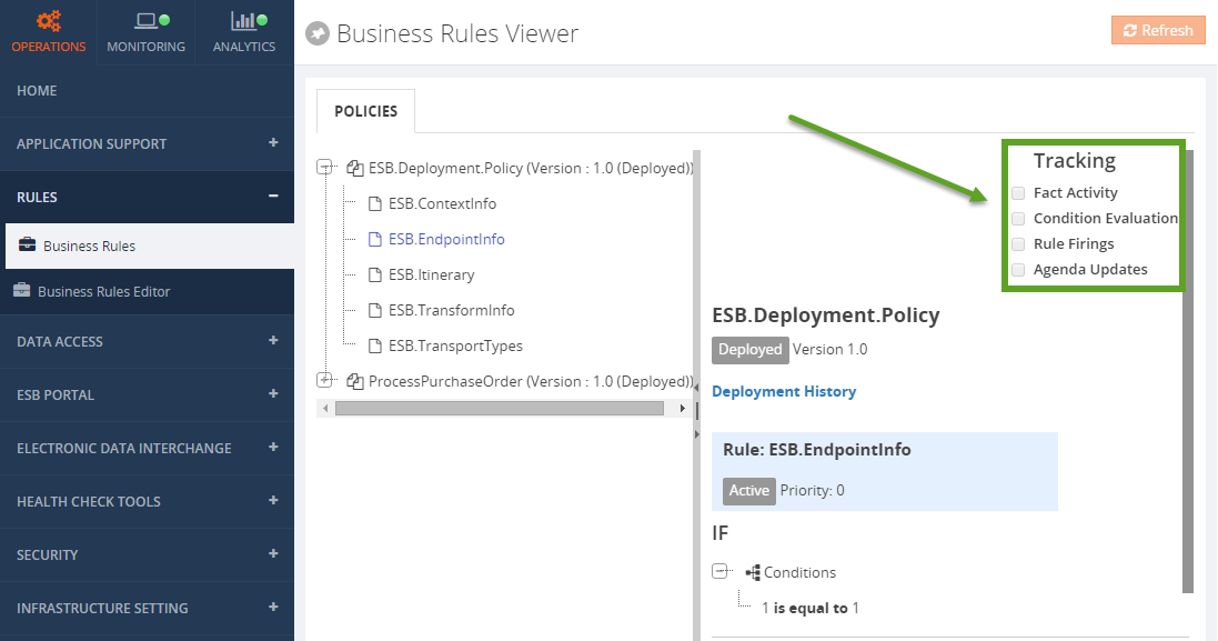 biztalk360 business rules viewer tracking