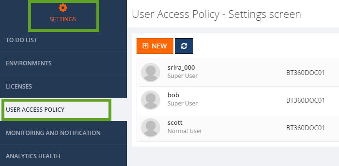 biztalk360 user access policy screen