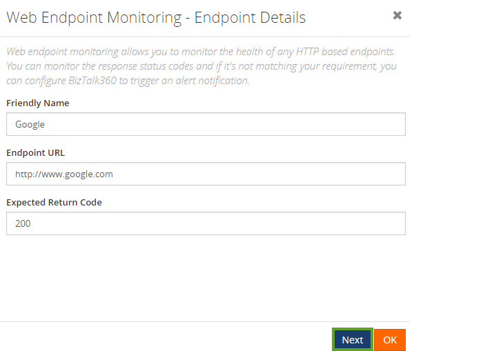 configuring alarms for web endpoints in biztalk server environments