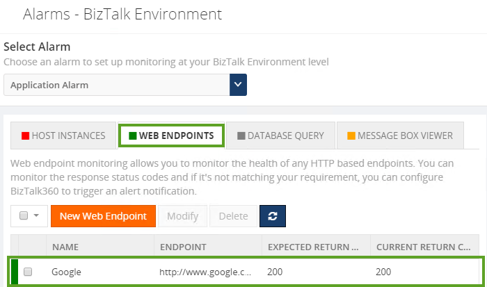 web endpoints status monitoring in biztalk server environment