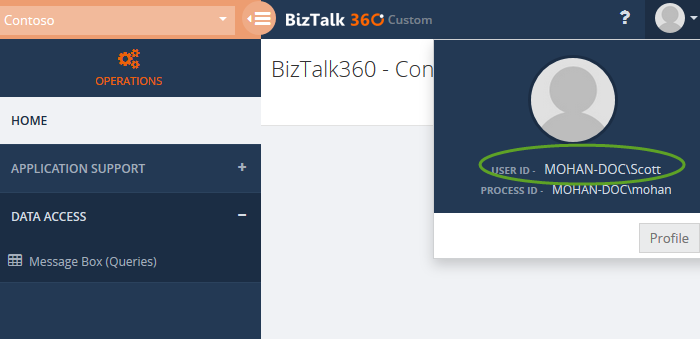 biztalk360 user profile