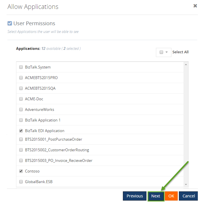 user access permissions to a biztalk application