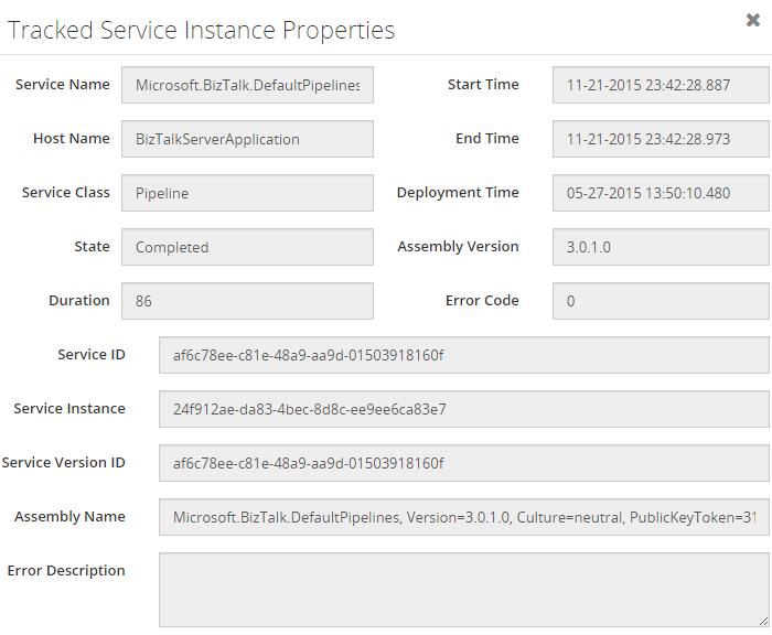 biztalk360 tracked service instance properties