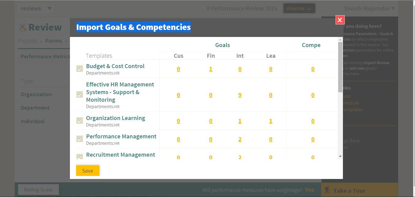 Performance Measure i.e. Goals, Competencies and KRA import