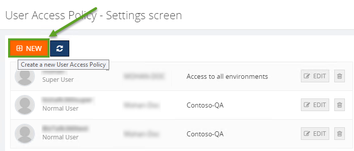 new user access policy settings