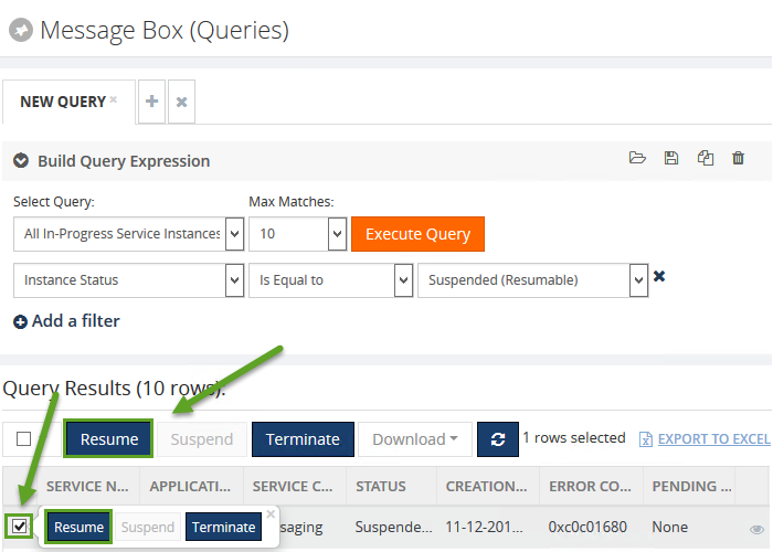 resuming services in biztalk360 message box queries