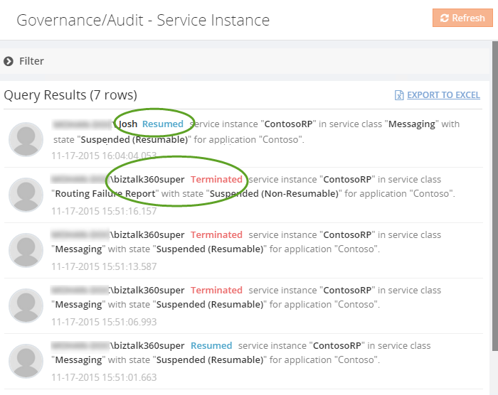 biztalk360 service instance query results