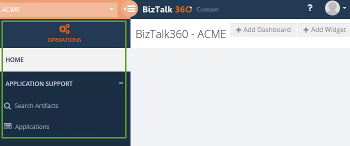biztalk360 application support menus