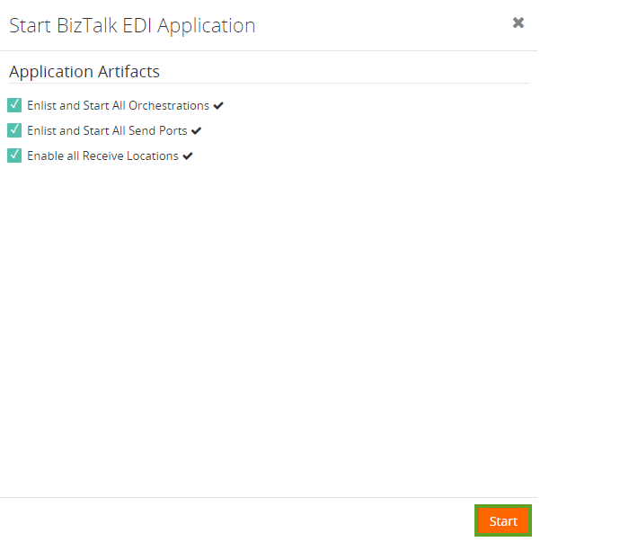 application artifacts to start biztalk edi application