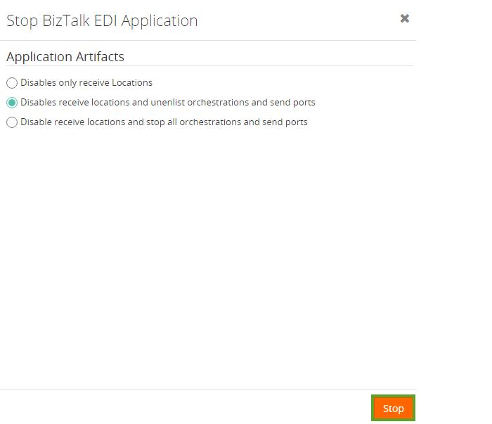 application artifacts to stop biztalk edi application