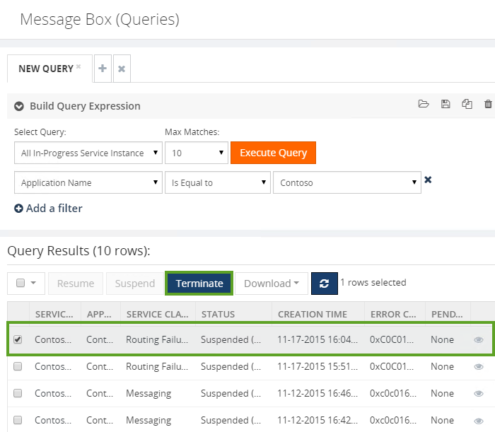biztalk server message box query results