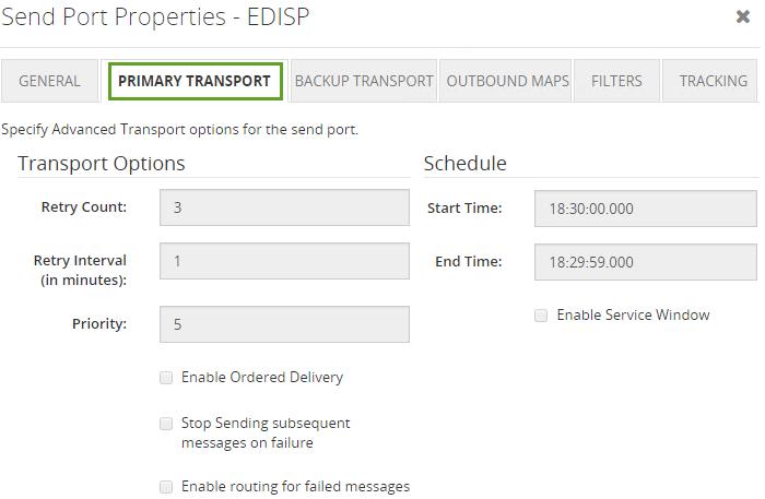 send port primary transport properties