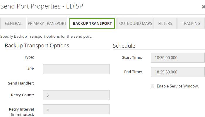 send port backup transport properties