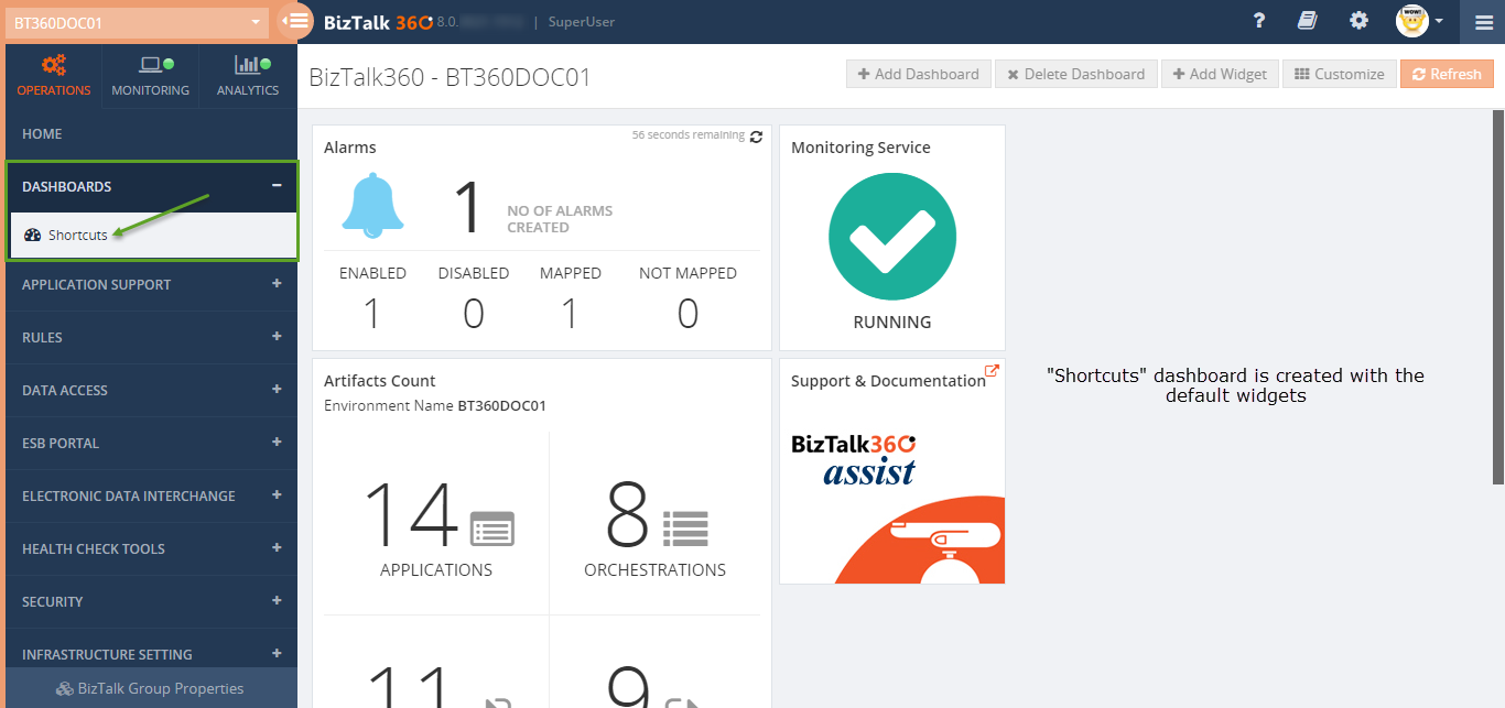 custom dashboard creation in biztalk360
