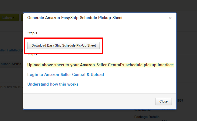 Amazon EasyShip Excel download from Browntape: : Browntape