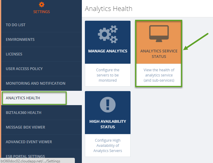 biztalk360 analytics health window