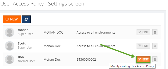 modify existing user access policy