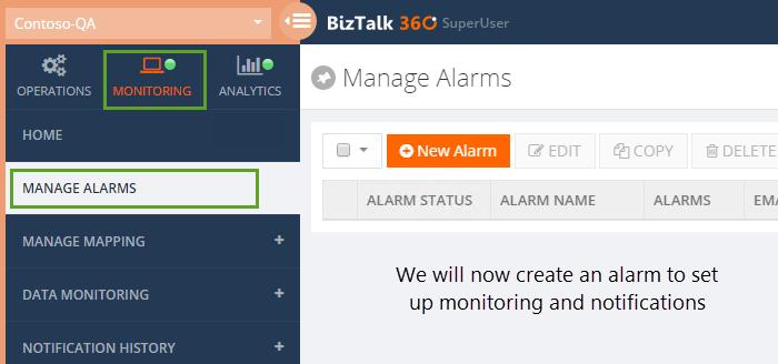 managing biztalk360 alarms