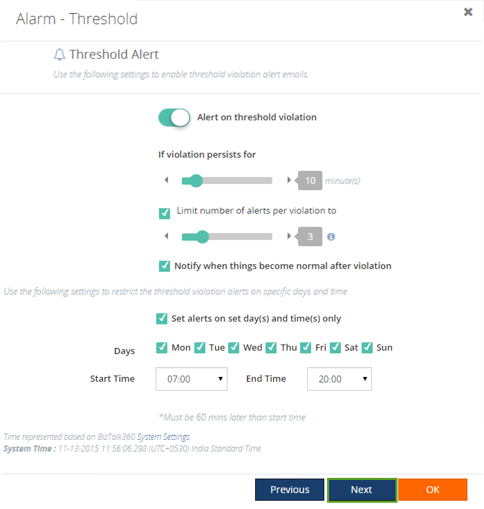 biztalk360 alarm threshold values