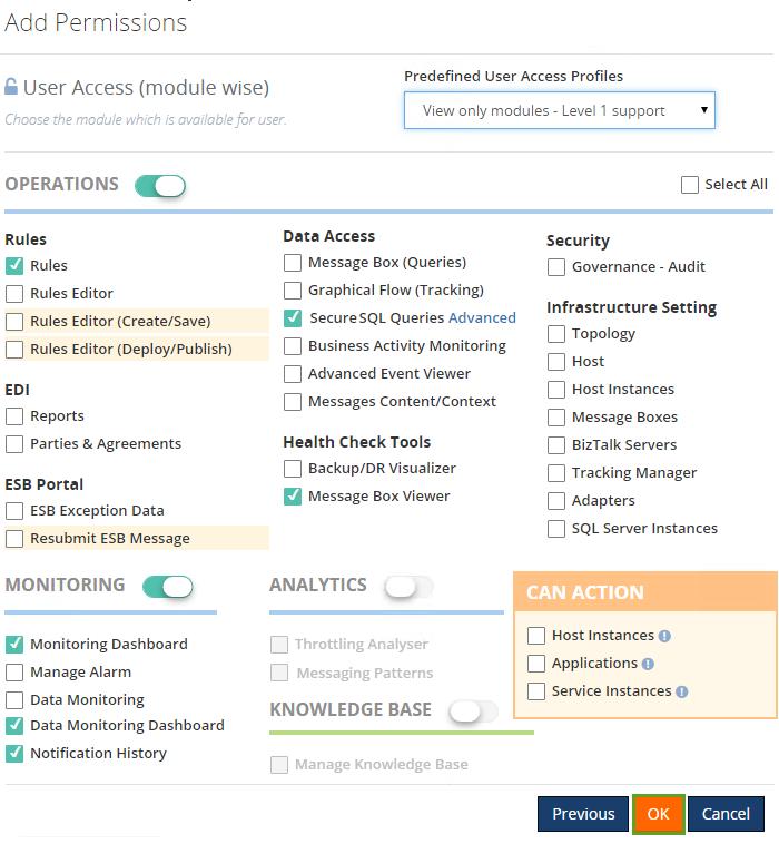 add permissions to a new user in biztalk360