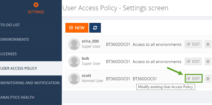 biztalk360 user access policy settings screen