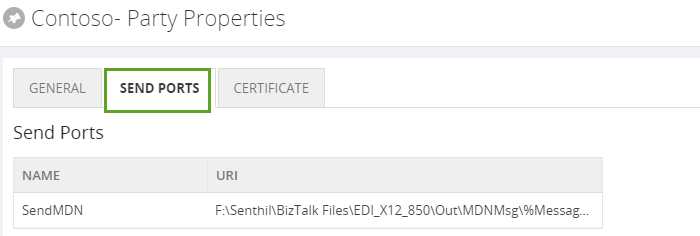 edi send port properties in biztalk360