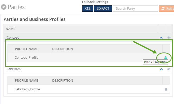 parties and business profile in biztalk360