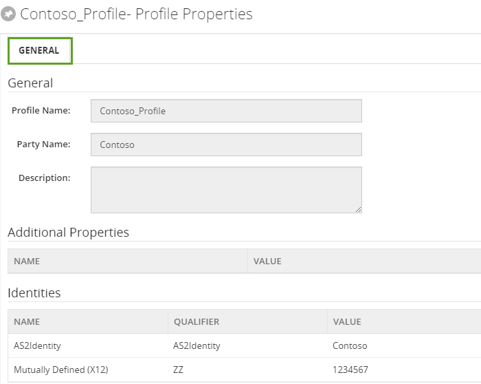 parties profile properties in biztalk360