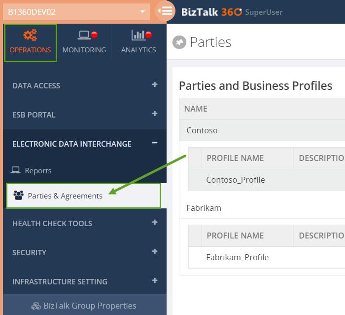 biztalk360 edi agreements home page