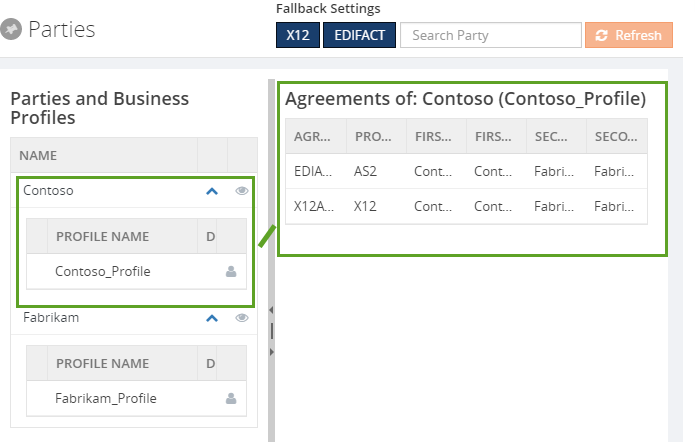 edi parties and agreements in biztalk360
