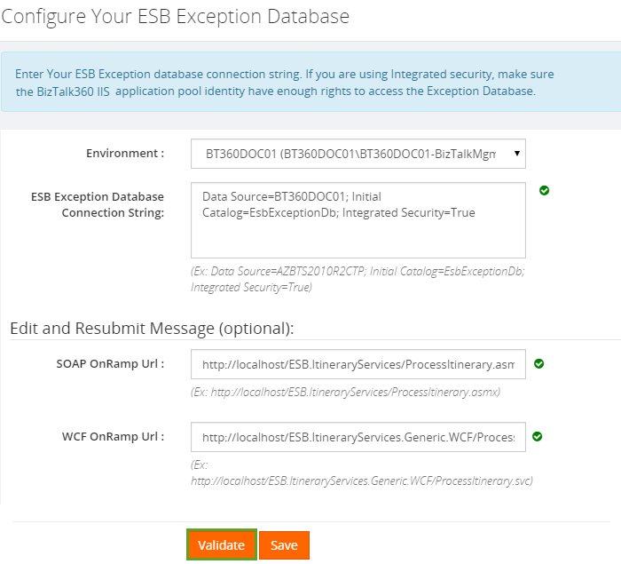 configuring esb exception database