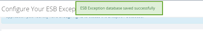 esb exception database configuration notification
