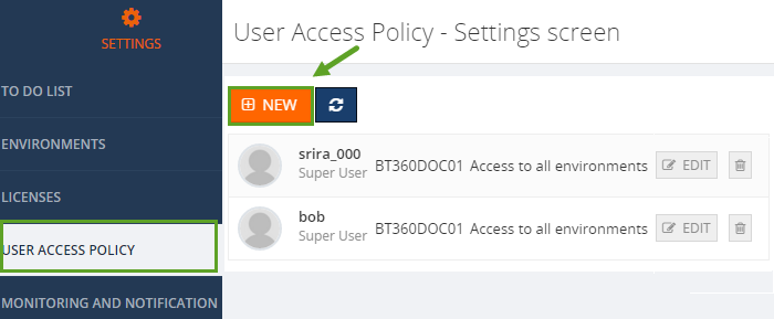 biztalk360 user access policy settings