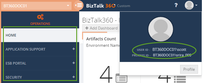 biztalk360 user profile information