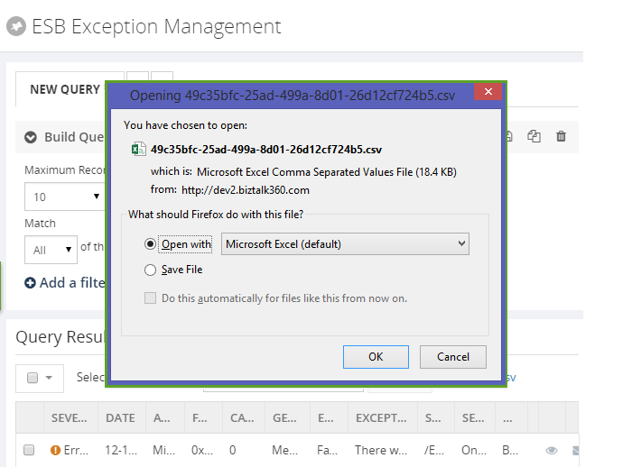 esb exception management query results