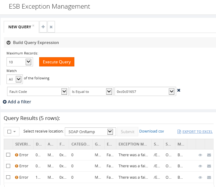 executing esb exception management queries