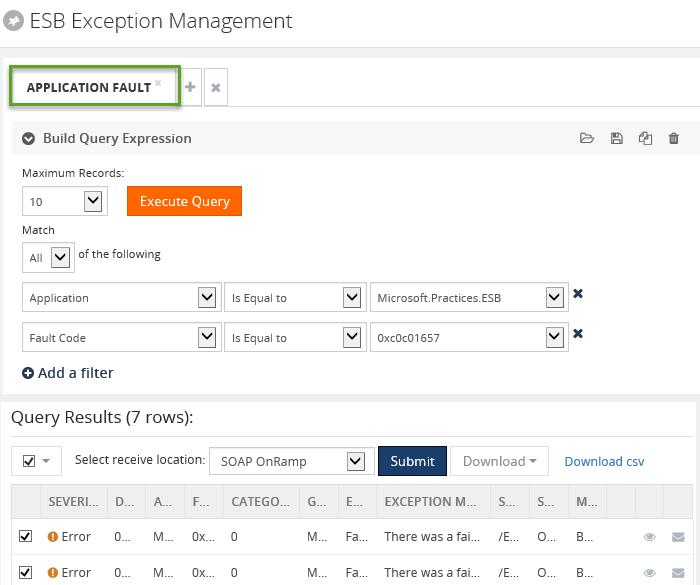 biztalk esb exception application fault details