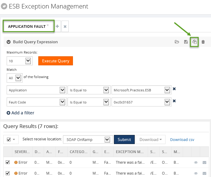 copying esb exception application fault details