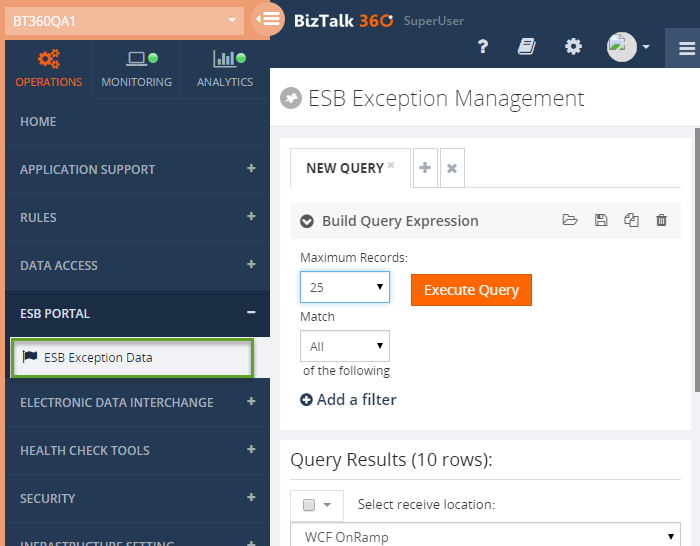 view esb exception data in biztalk360
