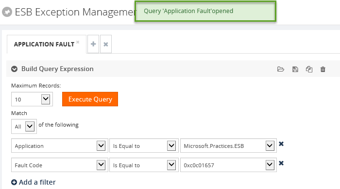 esb exception application fault build query expression