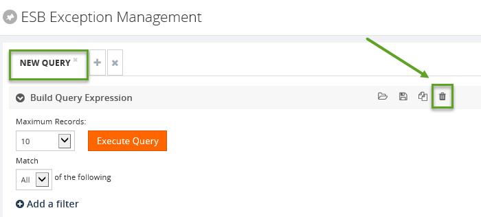 delete esb exception query