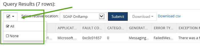 select esb exception query results